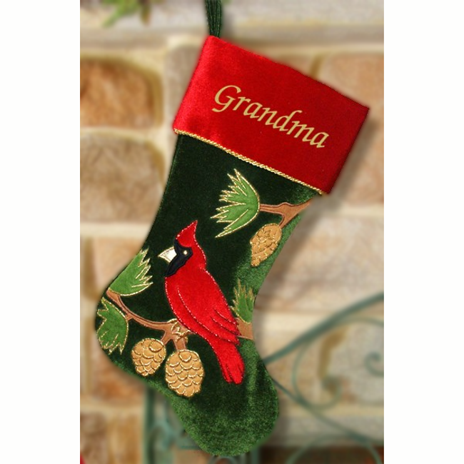 Personalized Christmas Stocking, Cardinal on Green Velvet