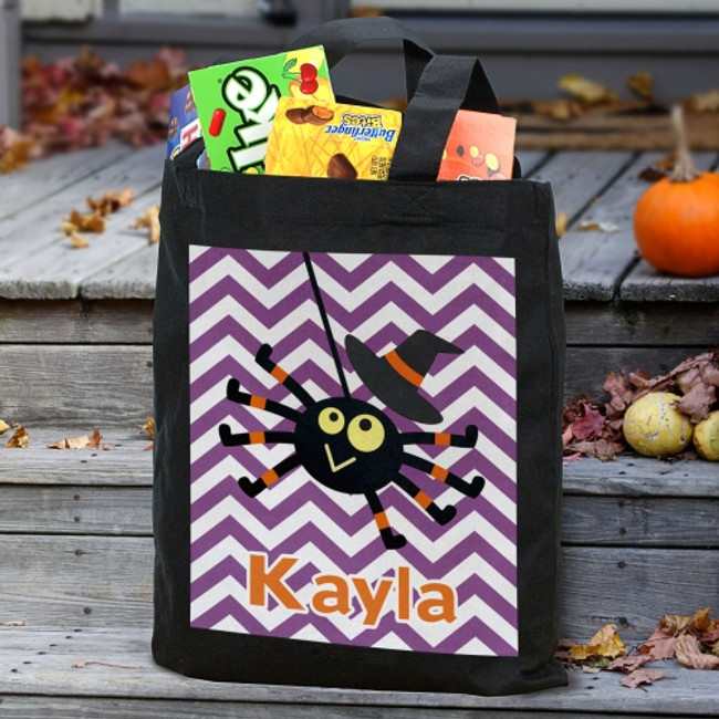 Halloween black canvas spider tote, personalized for your special girl.