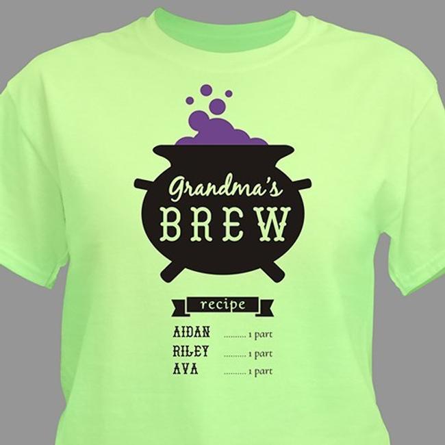 Personalized Grandma Halloween T-Shirt - Grandma's Brew