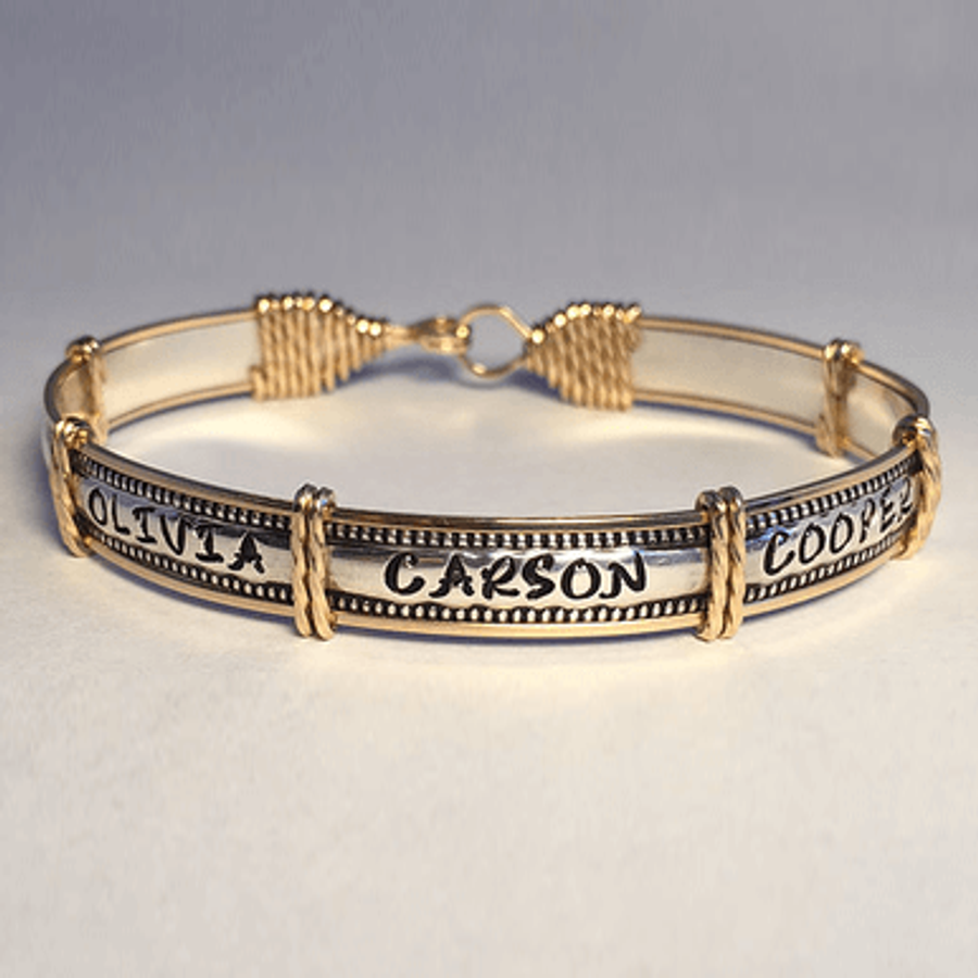 The gold and silver Grandma Bracelet Personalized with Grandkid Names.