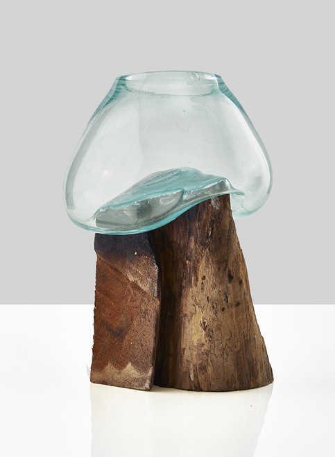 Custom Glass Vase Teak Stump With Glass Vase 10