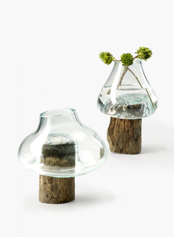 Custom Round Teak Stump With Glass Vase 10 Free Shipping