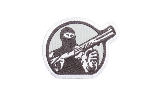 Mesa Tactical Embroidered Patch (Mesa Tactical Guy Logo, White and Gray)