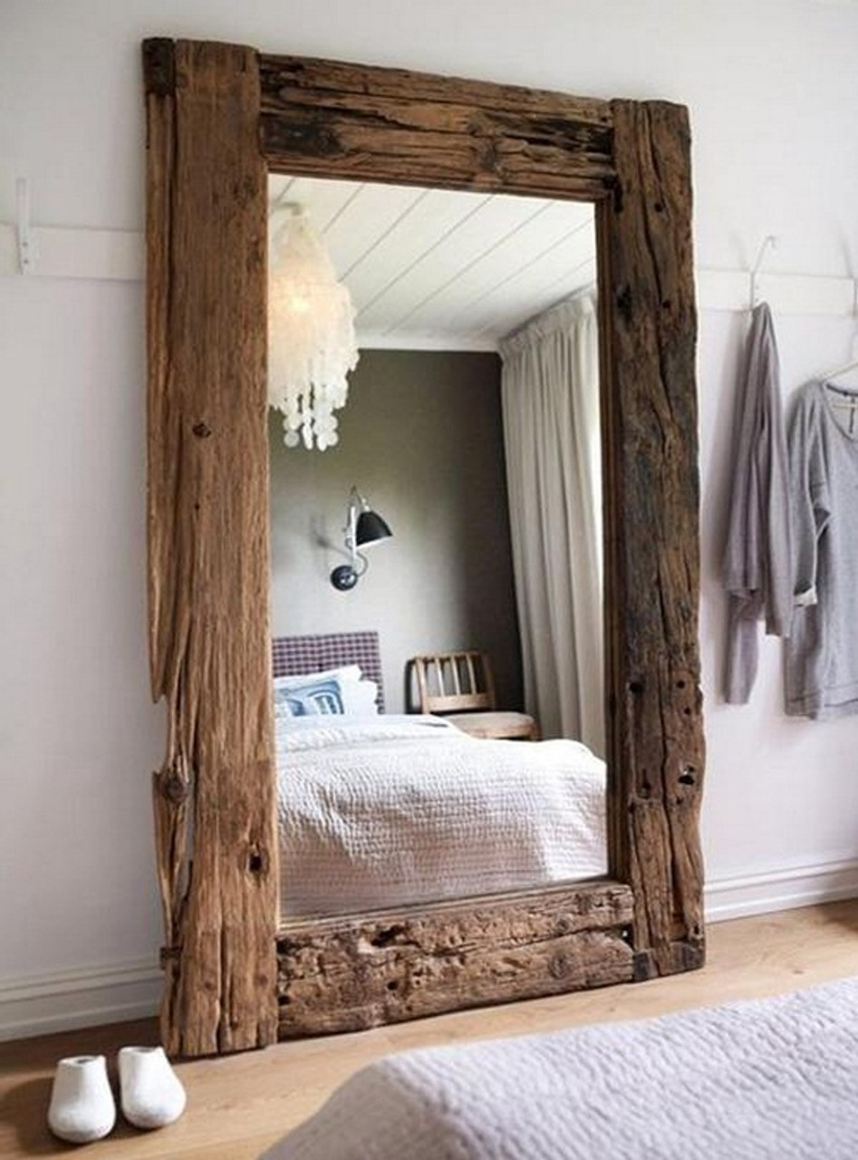 Large rustic lean to wood framed mirrors large leaner rustic wood mirror thecheapjerseys Image collections