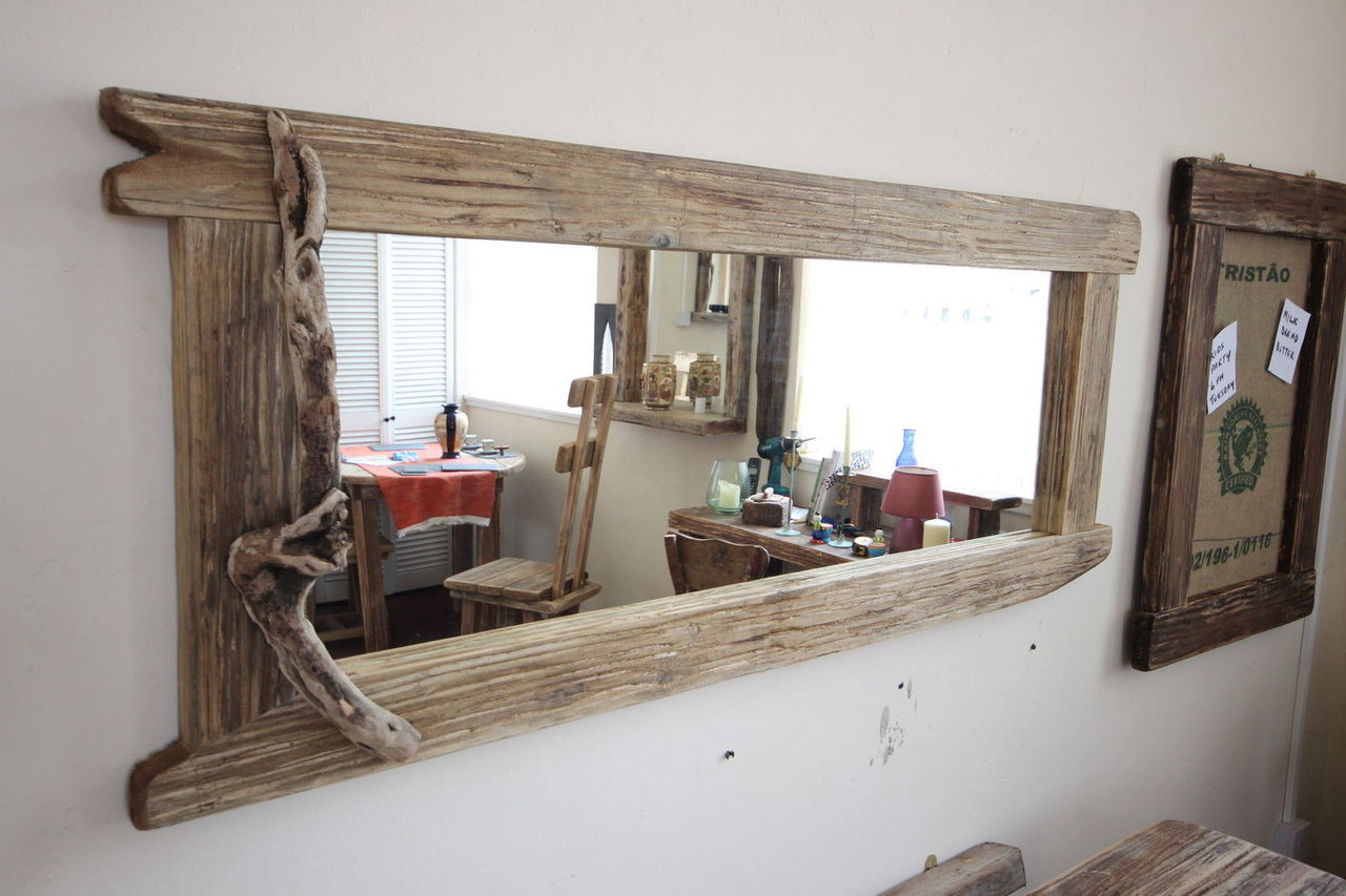 Large Distressed Wooden Framed Mirror Driftwood Interiors