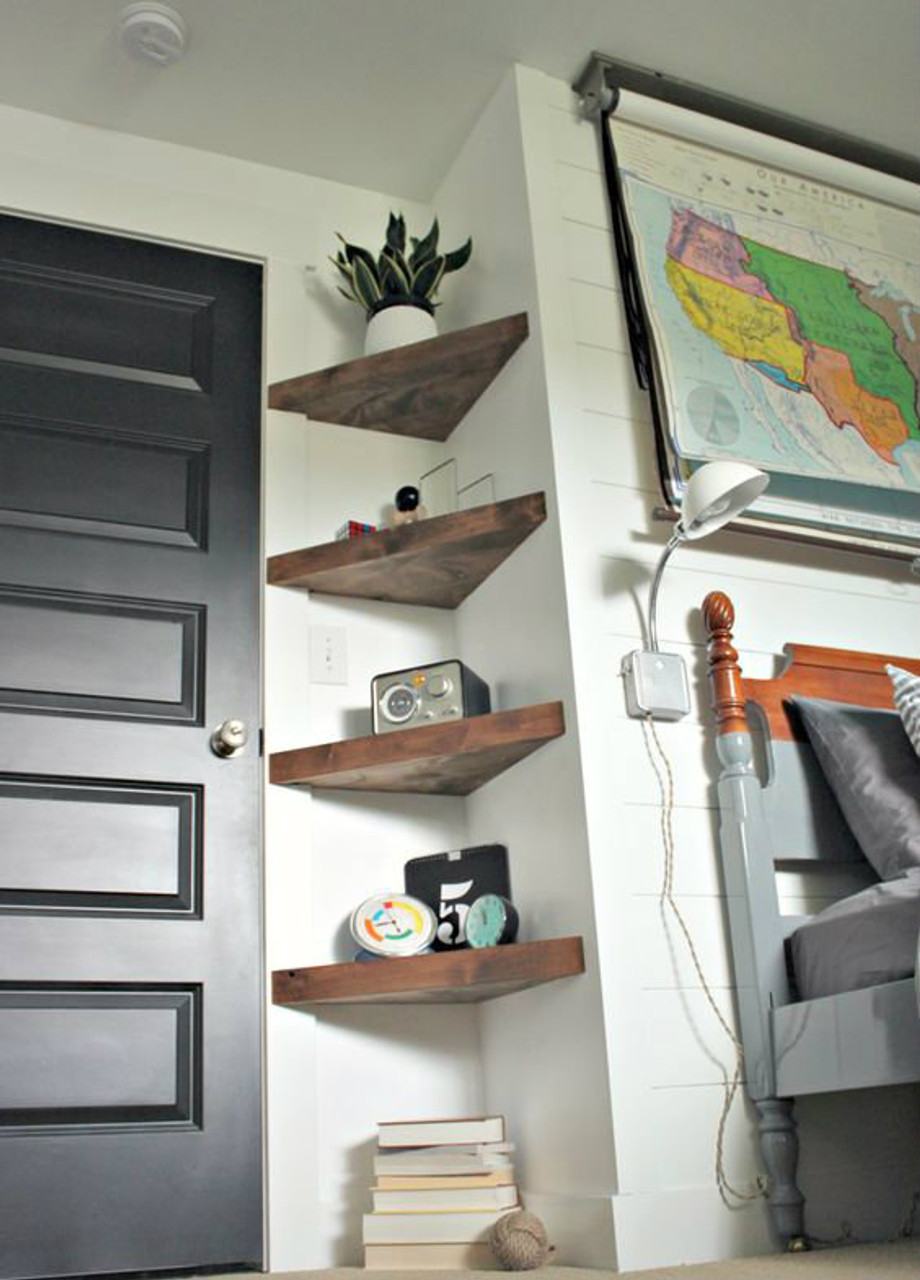 Rustic Corner Floating Shelf