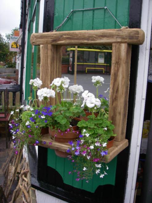 Garden Mirror With Plant Holder Driftwood Interiors