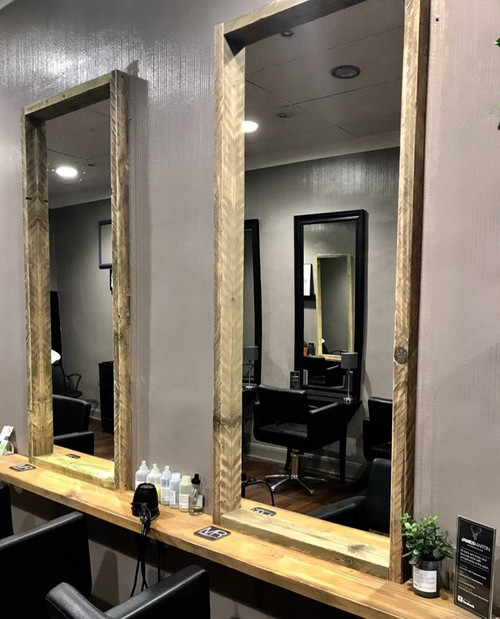 Dark Brown And Natural Driftwood Salon Mirror Styling Station