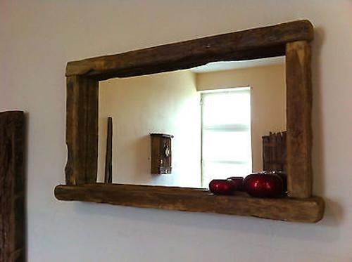 Wood Framed Bath Mirrors Oak Bathroom Mirror Oak Framed Bathroom Mirror Unusual Wood Framed: Over Mantel Farmhouse Mirror With Shelf