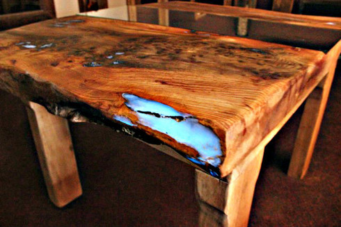 Burr Elm On Oak Dining Table