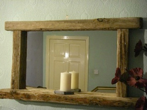 Rustic Reclaimed Driftwood Framed Mirror With Shelf