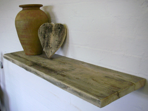 Rustic Reclaimed Driftwood Floating Shelf For Wall And Alcove