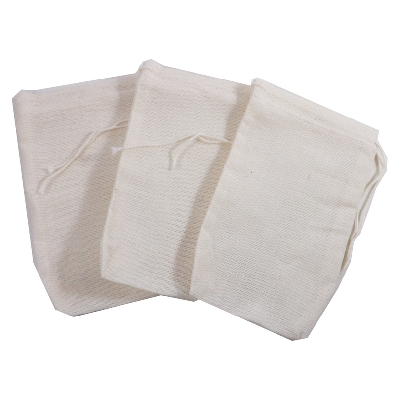 "Re-useable Muslin Teabags 3"" x 5"" 1 teabag (Culinary bags)  Muslin Culinary Bags - Use for reusable teabags, spice bags, sachets, herbal baths, Herbal foot soaks, gift bags, party favor bags and crafts."
