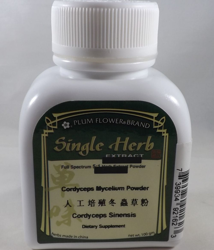 Cordyceps Mushrooms (Dong Chong Xia Cao) - Powder Form 100 Gram Bottle - Plum Flower Brand