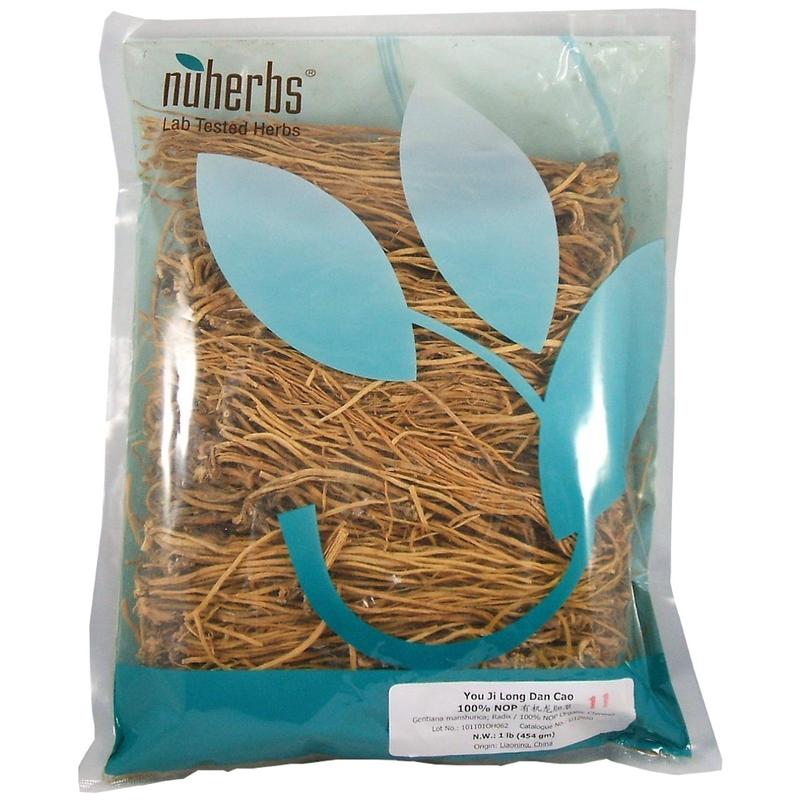 Chinese Gentian Root (Long Dan Cao) - Certified Organic Cut Form 1 lb - Nuherbs Brand