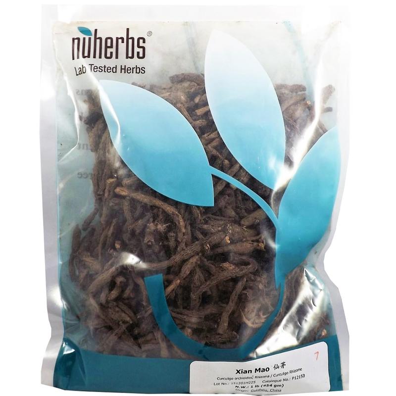 Curculigo Rhizome (Xian Mao) - Lab-Tested Cut Form 1 lb. - Nuherbs Brand (P12150)