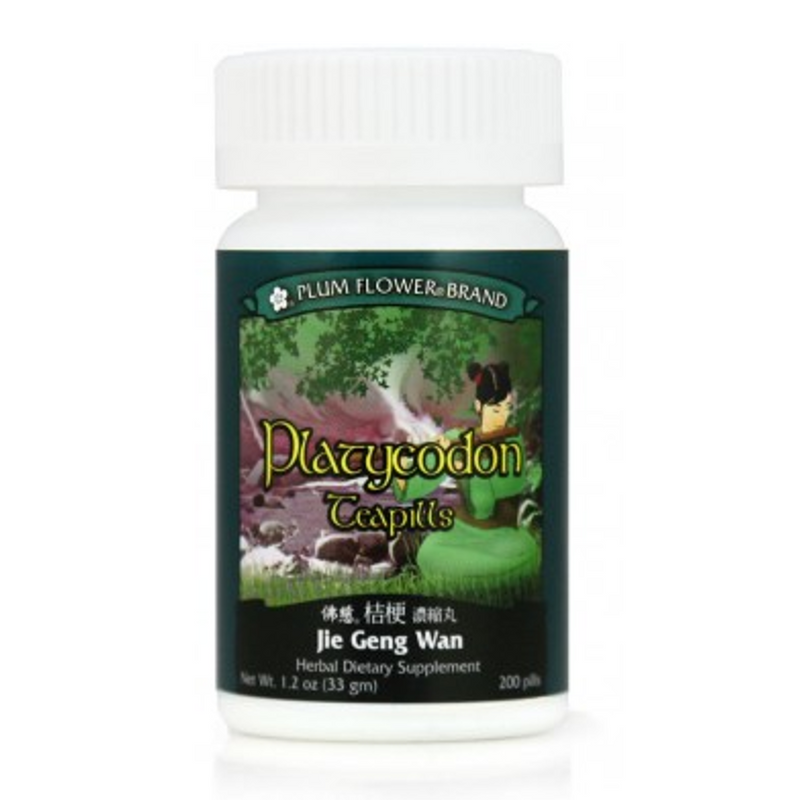 Platycodon Teapills (Jie Geng Wan) - 200 Pills/Bottle - Plum Flower Brand