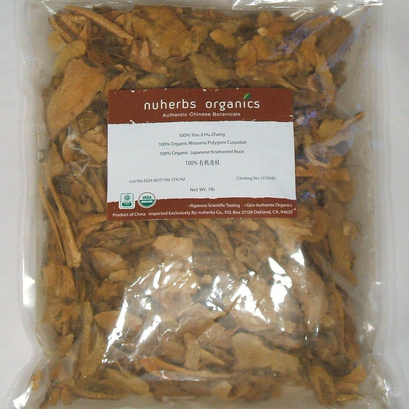Hu Zhang, Japanese Bushy Knotweed Root Slices, Nuherbs Organic, cut form 1lb