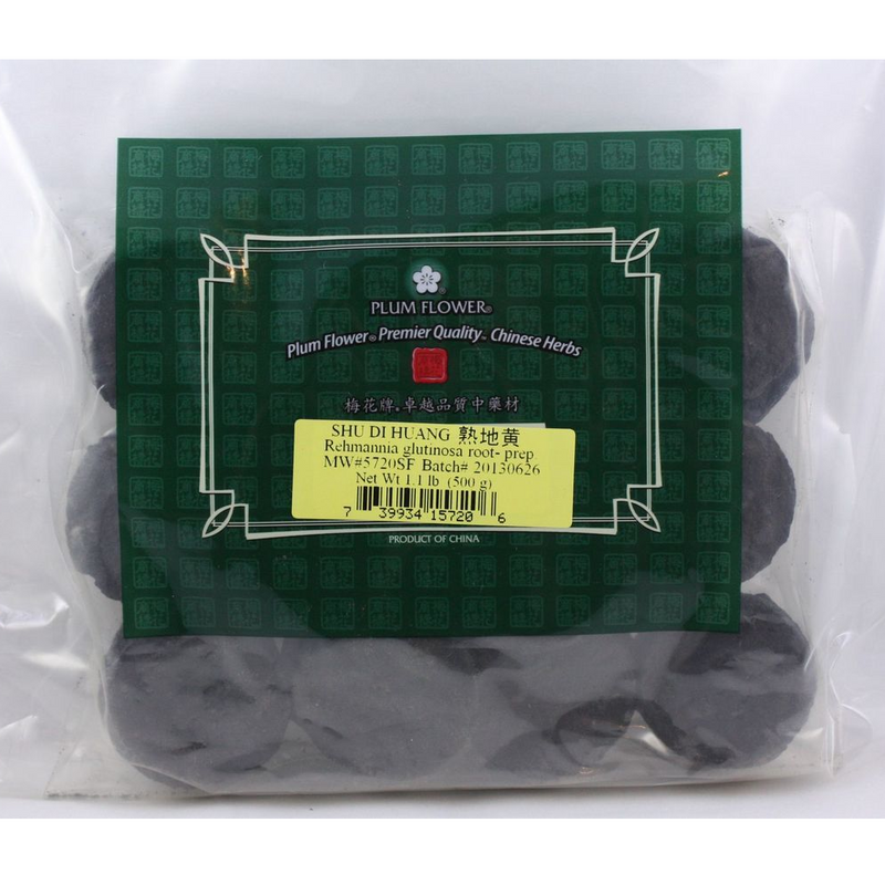 Shu Di Huang - Rehmannia Root Slices, Prepared - Plum Flower brand, cut form 1lb