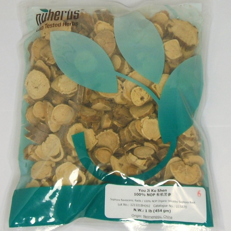 Shrubby Sophora Root Slices, Organic (You Ji Ku Shen) Nuherbs brand - Cut Form 1lb