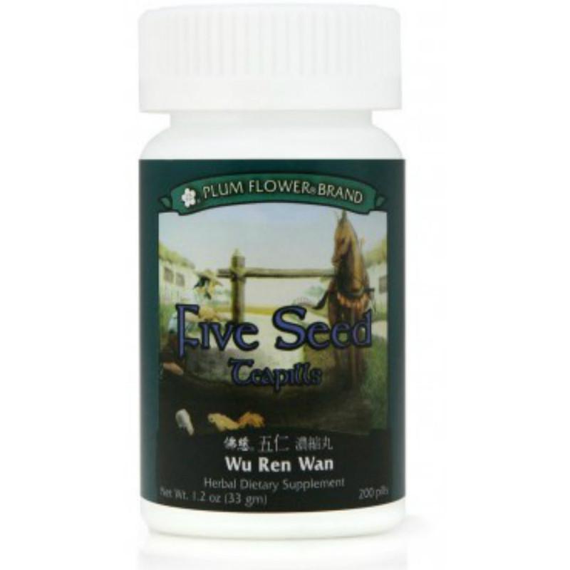 Five Seed Teapills, Wu Ren Wan - 200 Pills/Bottle - Plum Flower Brand