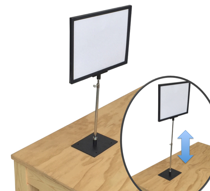 Plastic Tabletop Sign Frame for Stores   Adjustable Height Display