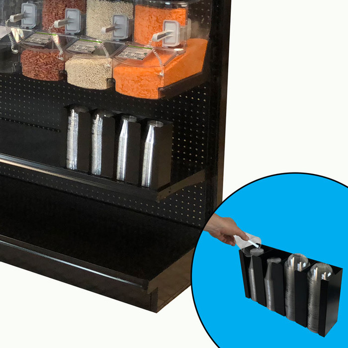 Cup holder shown underneath bulk bins and standalone.