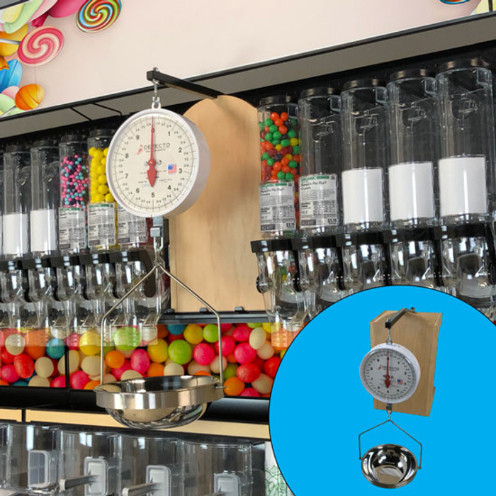 Weighing scale for bulk foods shown on display rack and as a standalone object.