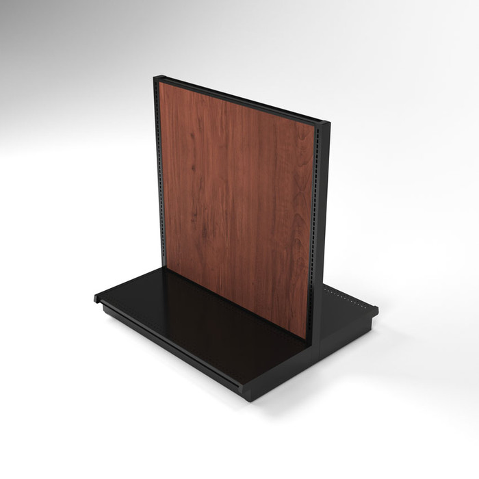 Isometric view of 54 inch double sided gondola shelving unit with wood panels.