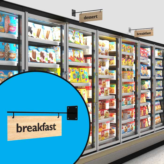 Budget aisle sign bracket shown hanging signs above frozen foods section as well as standalone.
