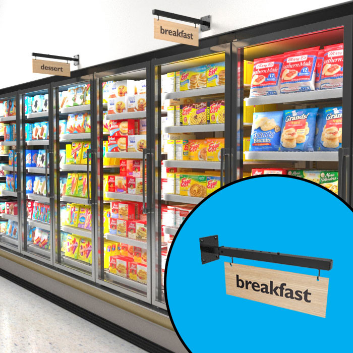 Telescopic wall hanging sign, shown above freezers and as standalone.