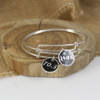 Sterling Silver 140.6 Large Enamel Charm Bangle Bracelet