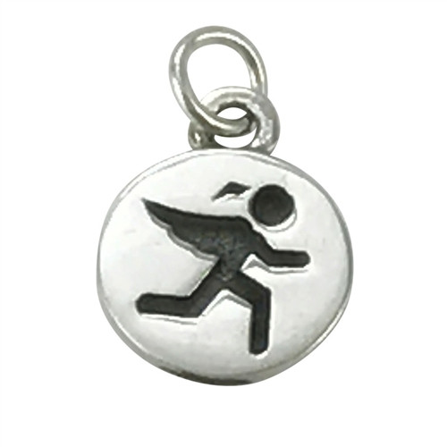 Guardian Angel Runner Charm on Snake Chain and on Leather Cord