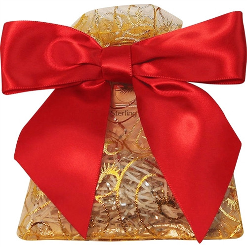 Gold Swirl Gift Bag with Red Ribbon