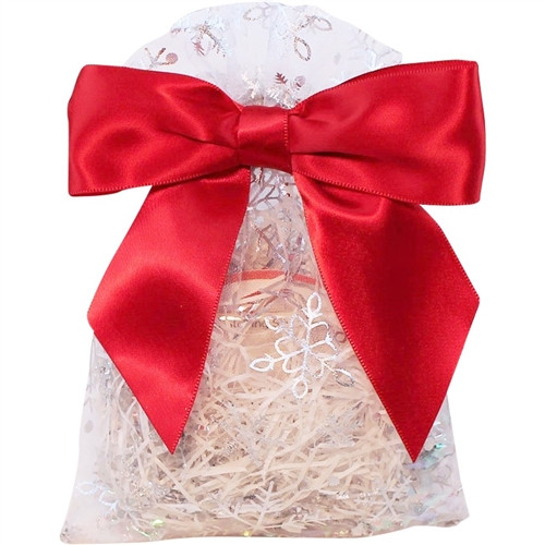 Silver Snowflake Gift Bag with Red Ribbon