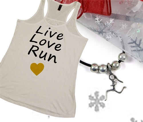Runner Girl Leather Necklace With Live Love Run Tank Top Holiday Gift Set