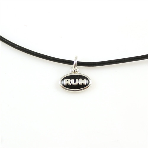 Sterling Silver RUN Enamel Mini Charm Necklace