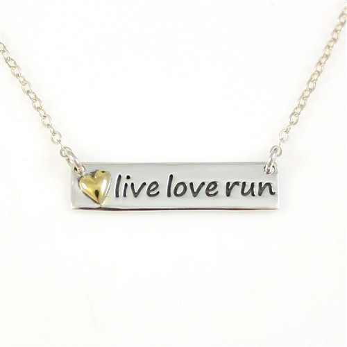 Live Love Run Plate Necklace