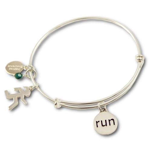 Sterling Silver Run Charm Expandable Bangle Bracelet