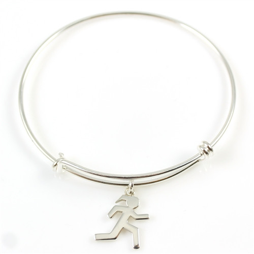 Sterling Silver Bangle Bracelet with Modern Sporty Gal Runner