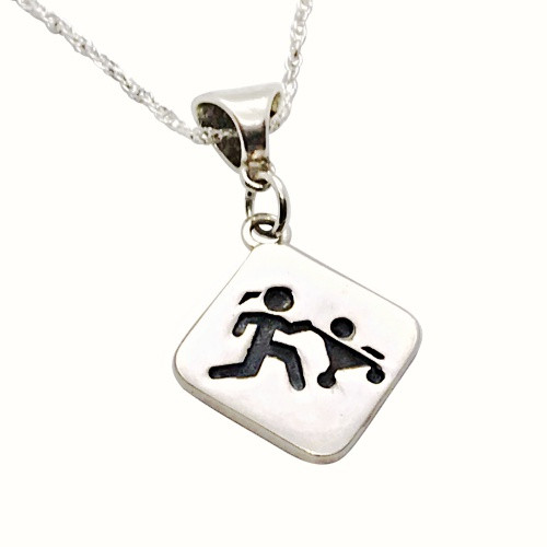 Sporty Gal Mother Runner Pendant with Enhancer on Double Rope Chain