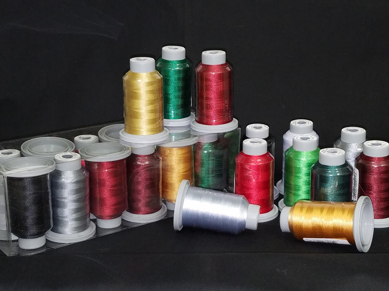 Christmas Collection of 12 Glide Spools, 40wt Thread