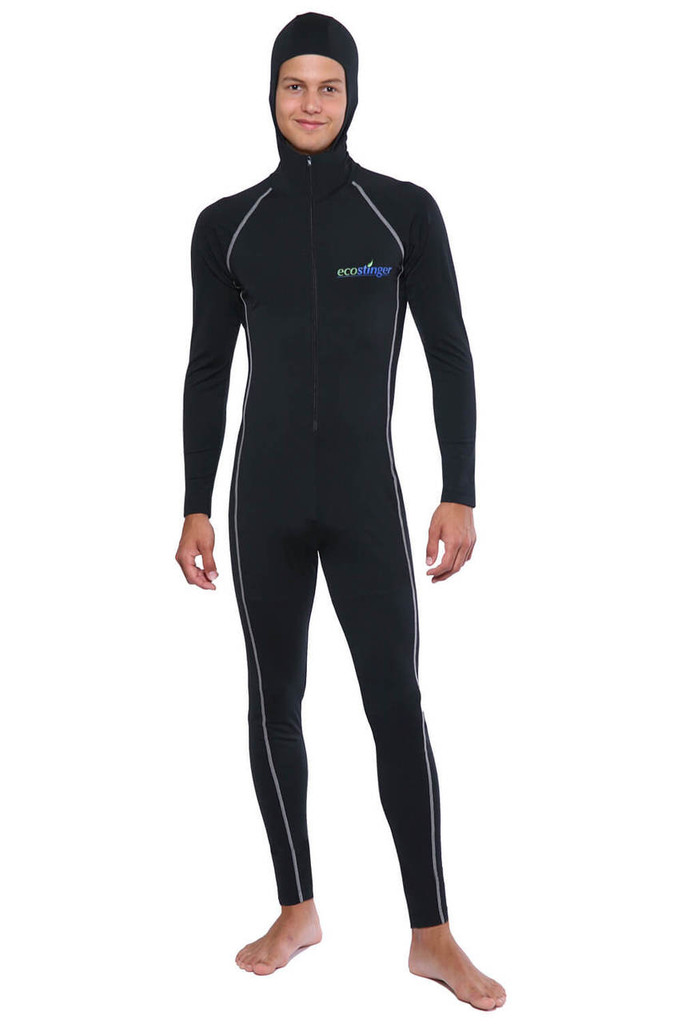 Men UV Protection Stinger Swimsuit With Hood Dive Skin UPF50+ Black Silver Stitch (Chlorine Resistant)