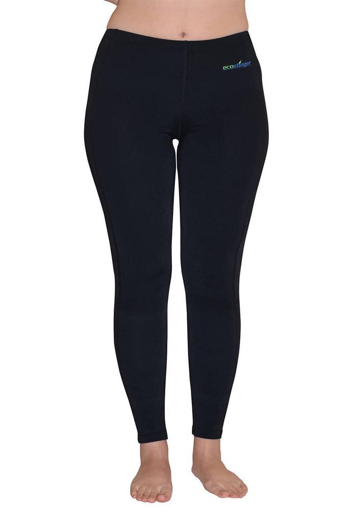 Women UV Protective Swim Tights Full Leggings UPF50+ Black (Chlorine Resistant)
