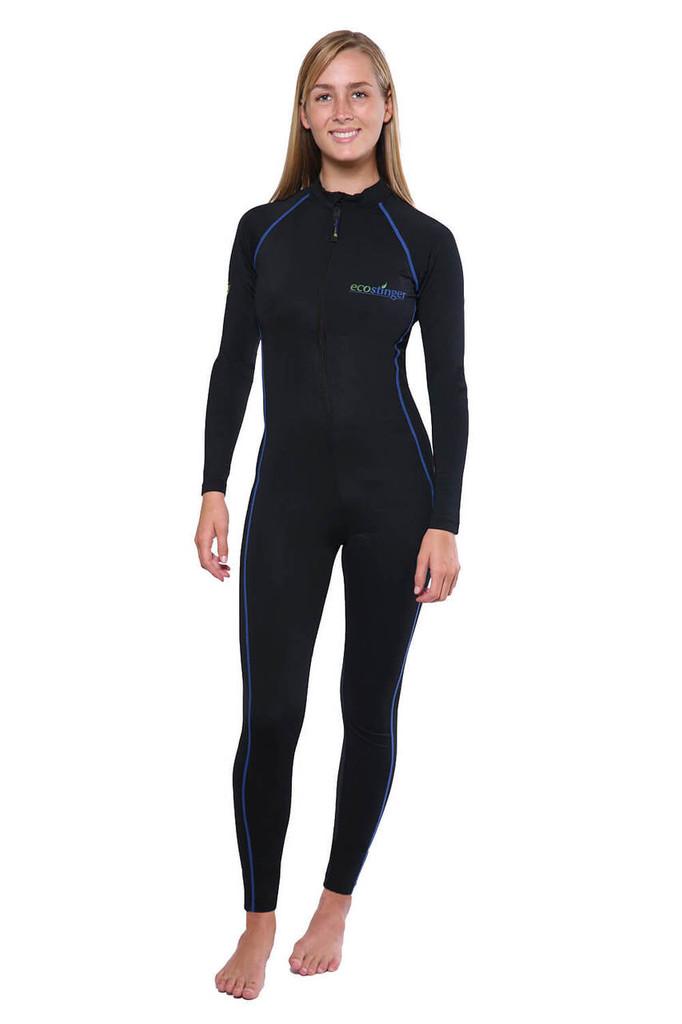 Women Full Bodysuit Swimwear UV Protection UPF50+ Black Royal (Chlorine Resistant)