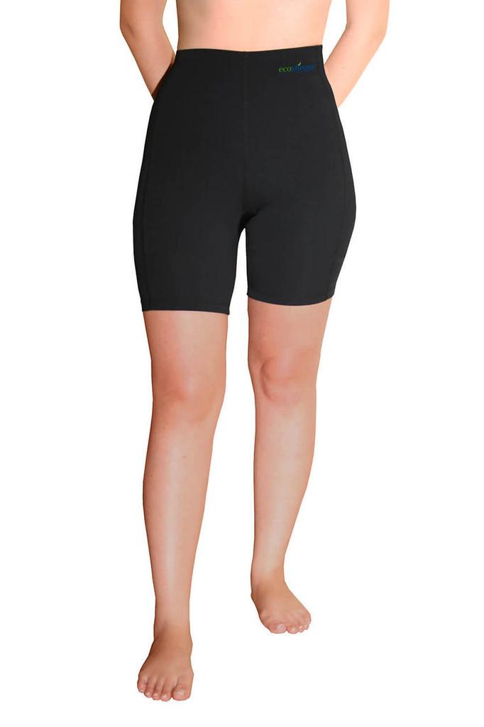 Women Swim Shorts High Waist Sun Protection UPF50+ Black (Chlorine Resistant)