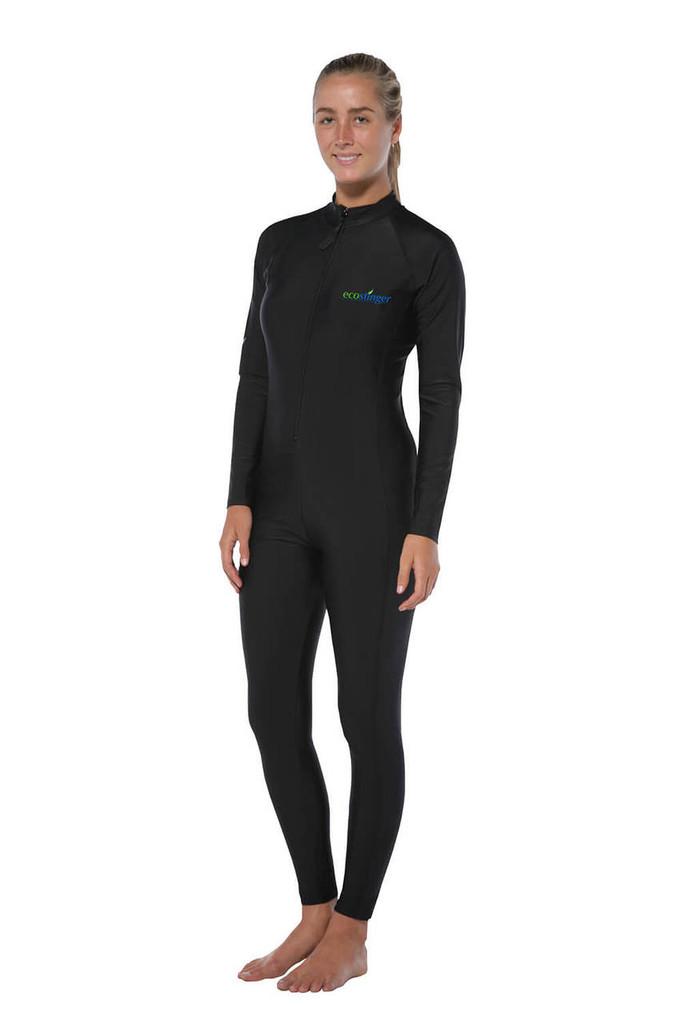 Women Full Body Stinger Swimsuit UV Protection UPF50+ Black (Chlorine Resistant)