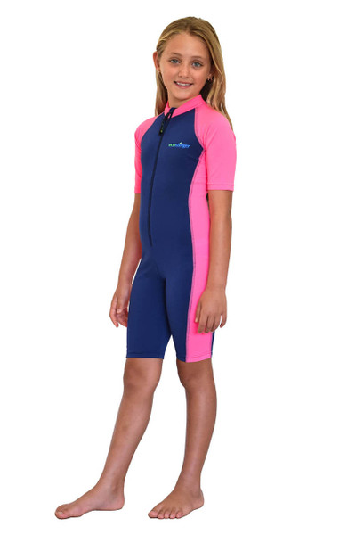Girls Sunsuit One Piece UV Protection Swimsuit UPF50+ Navy Pink (Chlorine Resistant)