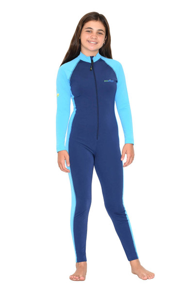 Girls Full Body Swimsuit Stinger Suit Long Sleeves UV Protection UPF50+ Navy Blue (Chlorine Resistant)