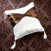Brown Bow Ring Pillow
